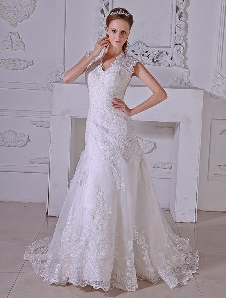 Milanoo Vestido de novia de organdi y de saten con escote en V de cola capilla
