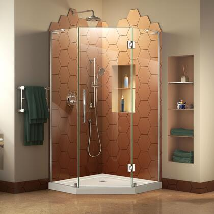 DL-6060-01 Prism Plus 36 X 36 Frameless Hinged Shower Enclosure In Chrome With White Acrylic Base