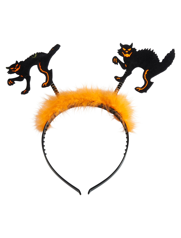 Kostuemzubehor Haarreif Katzen mit Marabu Farbe: orange/schwarz