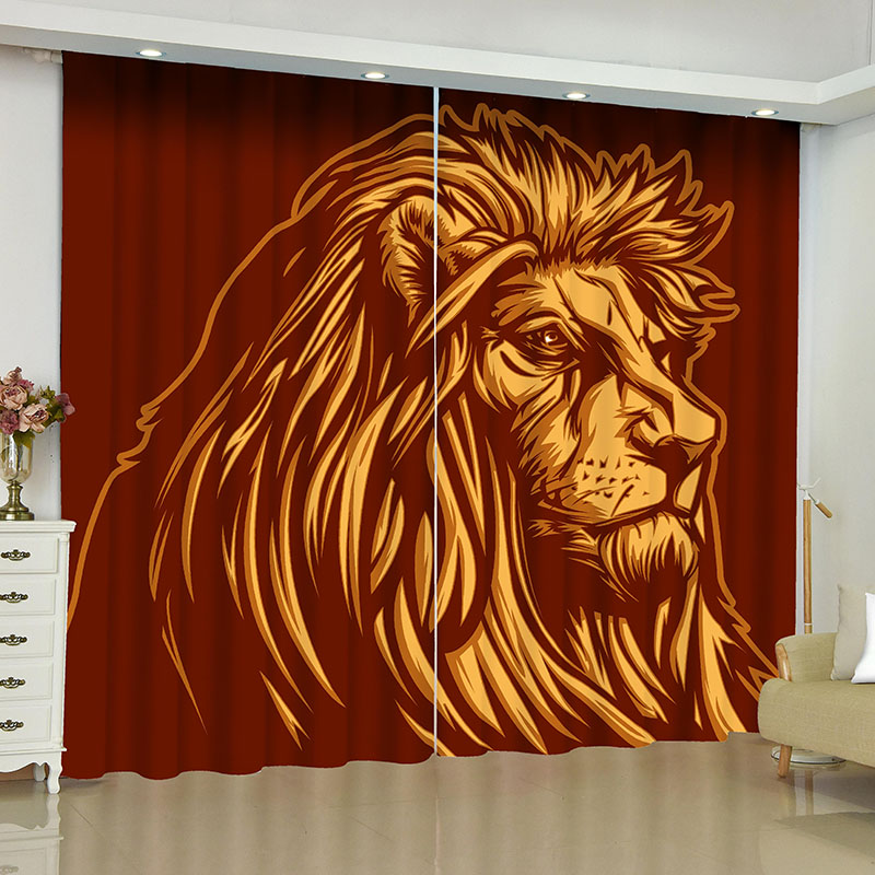 3D Red Modern Lion Head Printed Blackout Decoration 2 Panels Curtain Drapes for Living Room No Pilling No Fading No off-lining
