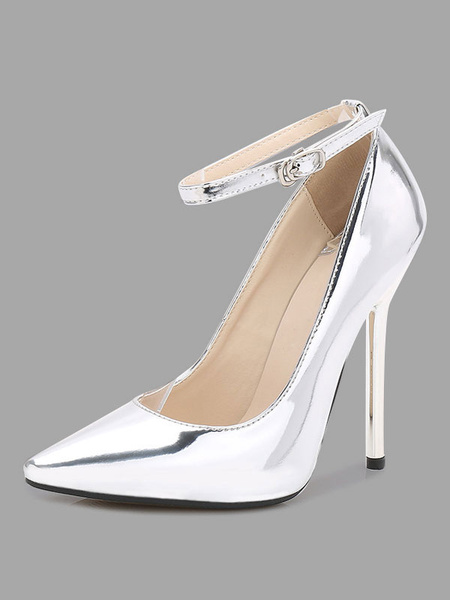 Milanoo Silver High Heels Women Pointed Toe PU Adjustable Ankle Strap Pumps Dress Shoes
