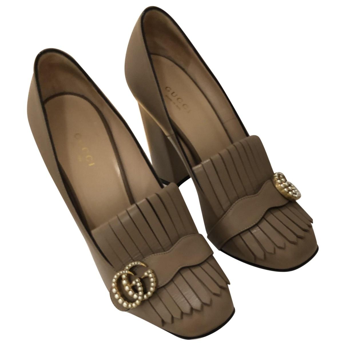 Gucci - Escarpins Marmont pour femme en cuir - marron