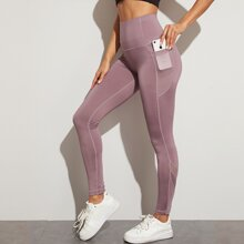 Solid Sports Leggings With Phone Pocket