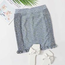 Ditsy Floral Shirred Side Skirt