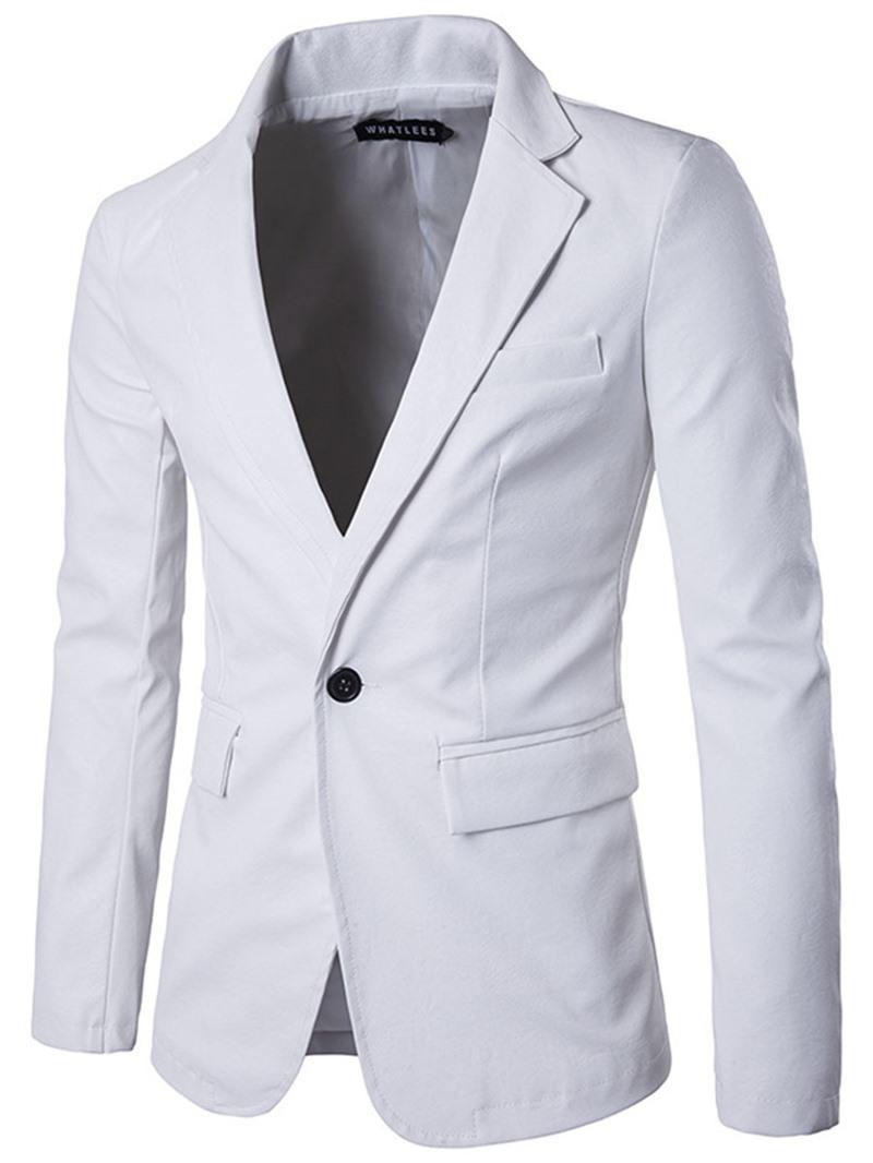 Ericdress One Button Vogue PU Slim Men's Blazer