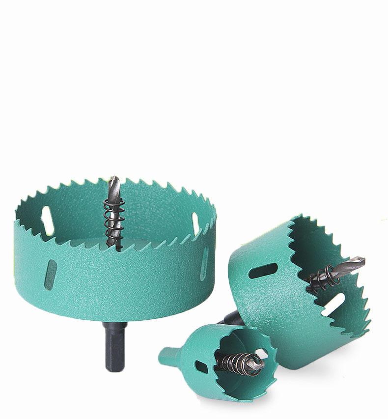 Drillpro 45-100mm M42 HSS Hole Saw Cutter Aurora Green Metal Tip Drill For Aluminum Iron Wood Drilling