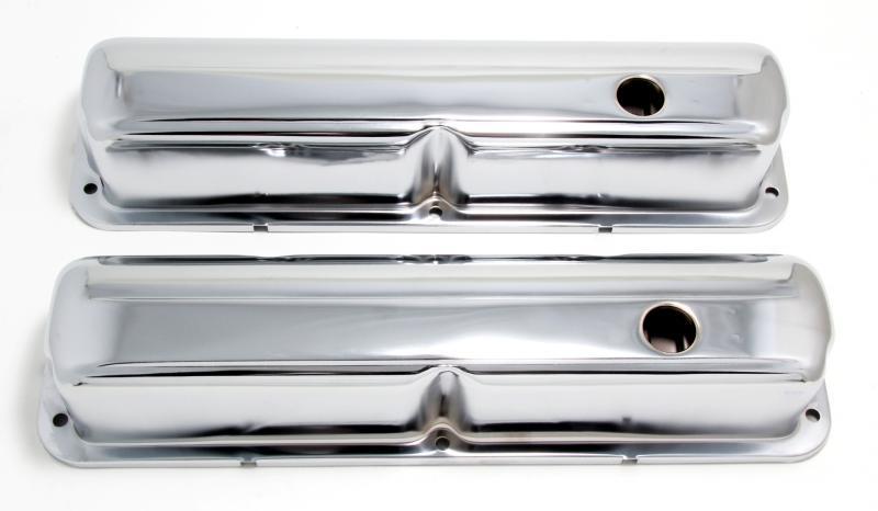 Trans-Dapt Performance 9296 TRADITIONAL Design Valve Covers; STOCK; FORD 352, 390, 406, 427, 428-CHROME