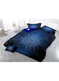 Blue MedallionWear-resistant Breathable High Quality 60s Cotton 4-Piece 3D Bedding Sets