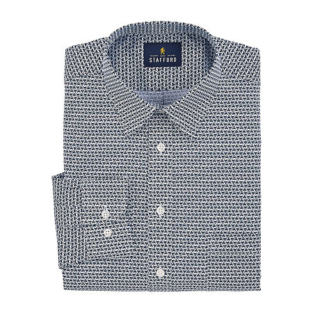 Stafford Mens Point Collar Long Sleeve Wrinkle Free Stain Resistant Dress Shirt, 17 34-35, Blue