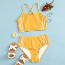 Bañador bikini de niñas de rayas laterales