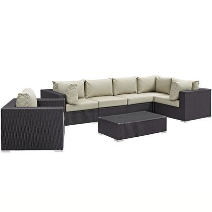 Convene Collection EEI-2157-EXP-BEI-SET 7-Piece Outdoor Patio Sectional Set with Armchair  Coffee Table  3 Corner Sections and 2 Armless Sections in