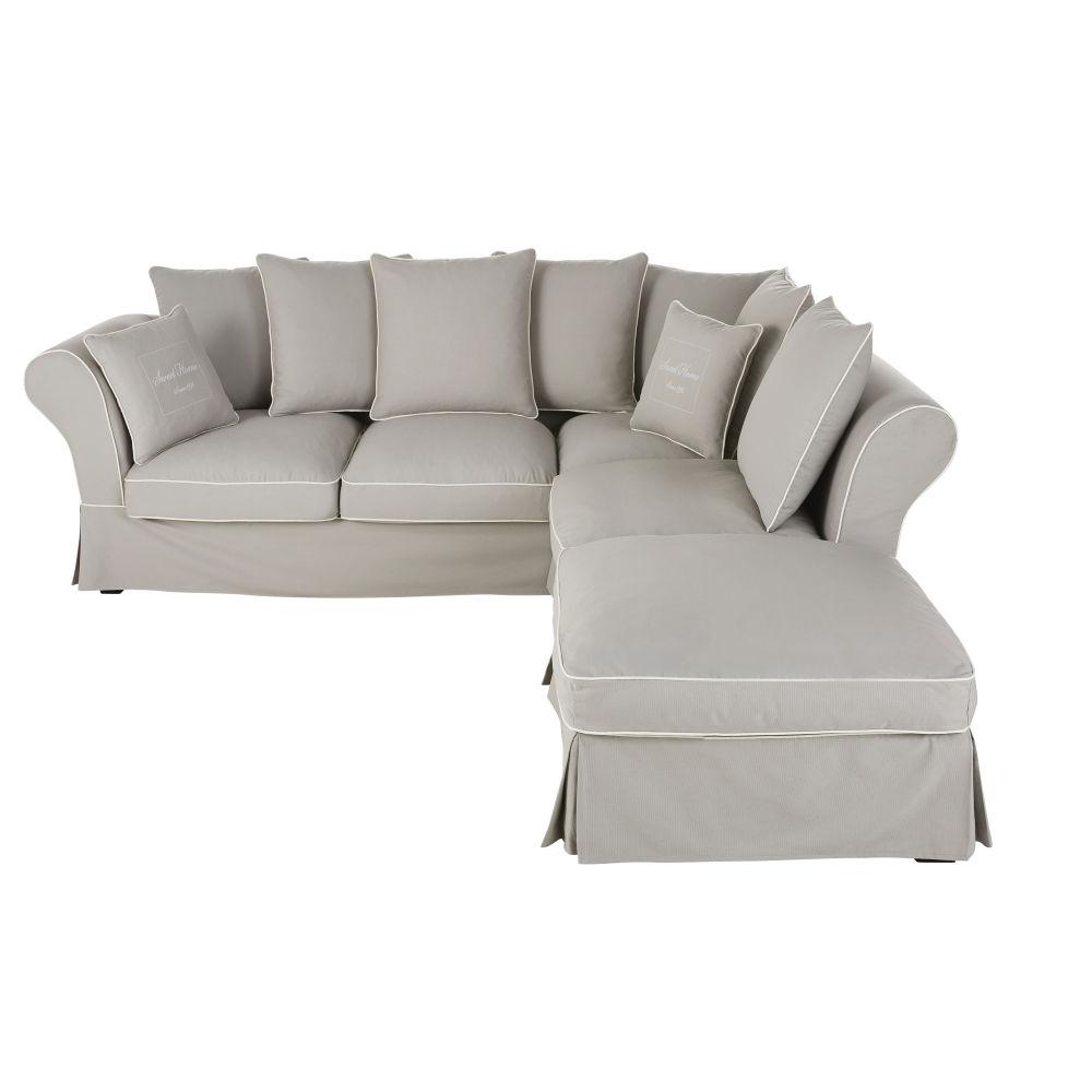 6-Sitzer-Ecksofa ausziehbar mit hellgrauem Baumwollbezug und Matratze 12 cm Roma