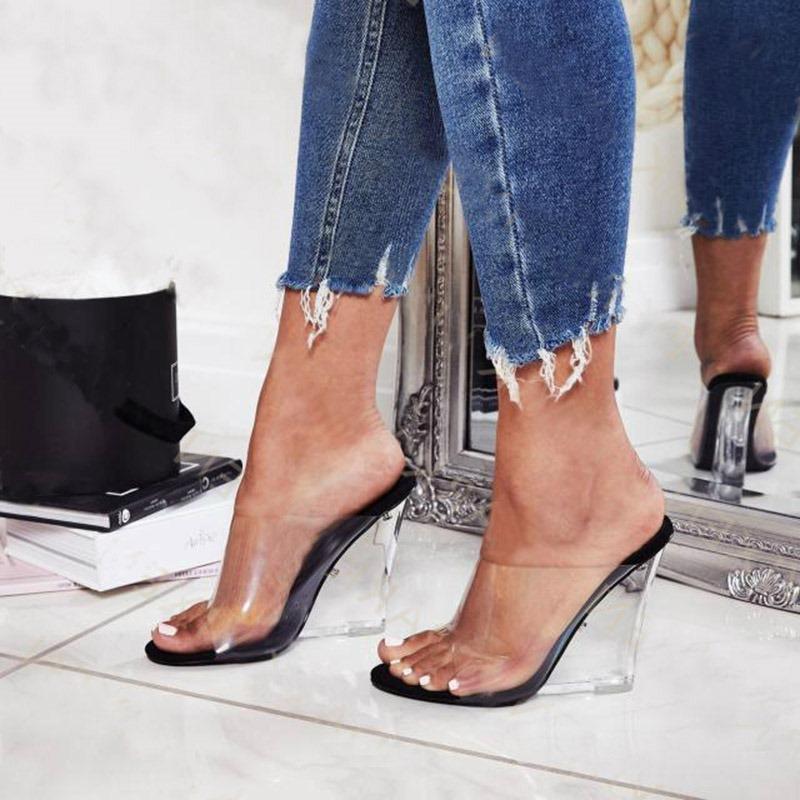 Ericdress PVC Wedge Heel Slip-On Women's Mules Shoes