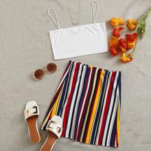 Crop Cami Top & Striped Skirt Set