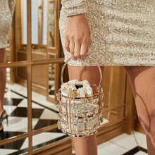 Mini Jewelled Decor Drawstring Clutch Bag