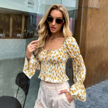 Tie Front Flounce Sleeve Shirred Floral Peplum Top