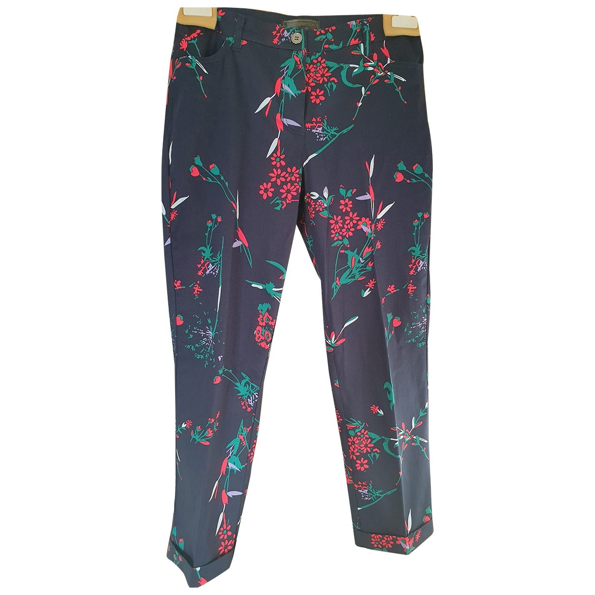 Non Signé / Unsigned \N Blue Cotton Trousers for Women 42 IT