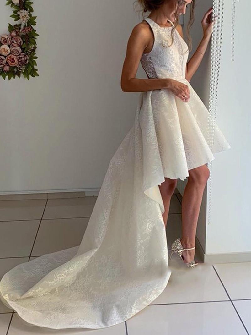 Ericdress High Low Lace Beach Wedding Dress