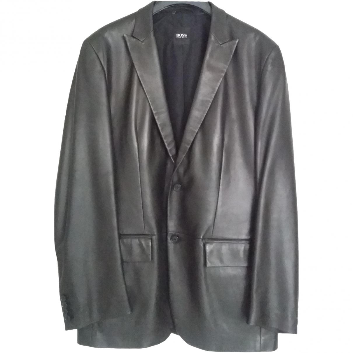 Hugo Boss \N Black Leather coat  for Men 50 IT