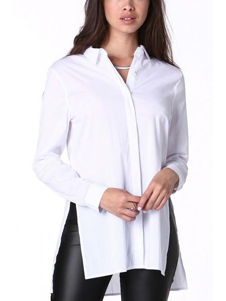 Yoins White Side Split Shirt