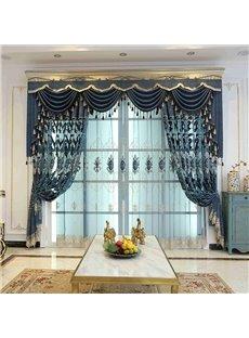 Lake Blue Elegant Embroidered Floral Organza Decorative Custom Sheer Curtains