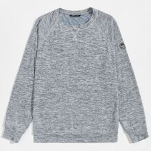Men Stitch and Patched Detail Space Dye Pullover