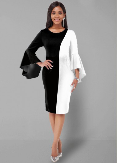 Cocktail Party Dress Round Neck Flare Sleeve Color Block Dress - XL