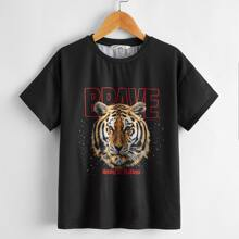 Boys Tiger and Letter Graphic Drop Shoulder Tee