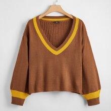 Drop Shoulder Pullover mit Streifen