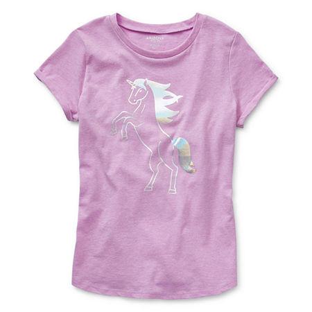 Arizona Little & Big Girls Round Neck Short Sleeve Graphic T-Shirt, Large (14.5/16.5) Plus , Purple