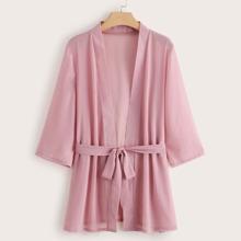 Plus Long Sleeve Belted Robe