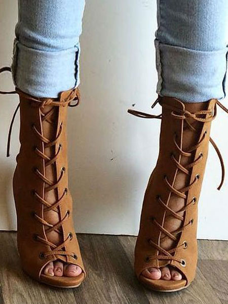 Milanoo Brown Sandal Booties High Heel Peep Toe Lace Up Nubuck Plus Size Ankle Boots For Women