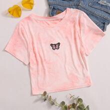 Crop T-Shirt mit Batik und Schmetterling Stickereien