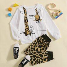 Sweatshirt & Jogginghose mit Giraffe und Buchstaben Grafik