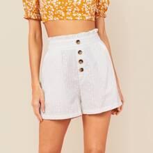 Shorts mit Papiertasche und Knopfen vorn