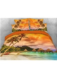 Tropical Island with The Palm Trees and Clear Sea Printed 4-Piece 3D Bedding Sets/Duvet Covers
