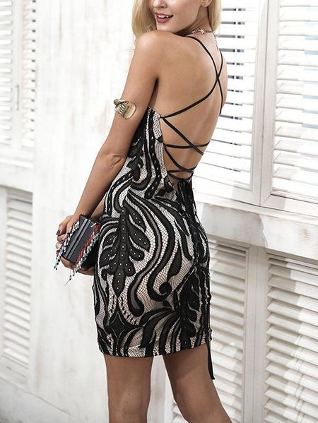 Yoins Black Lace-up Design Floral Square Neck Lace Dress