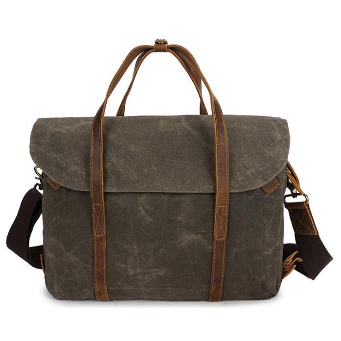 Ekphero Vintage Waterpoof Canvas Genuine Leather 14 Inch Laptop Bag