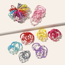 35 piezas goma de pelo de niñitas con diseño de perla artificial