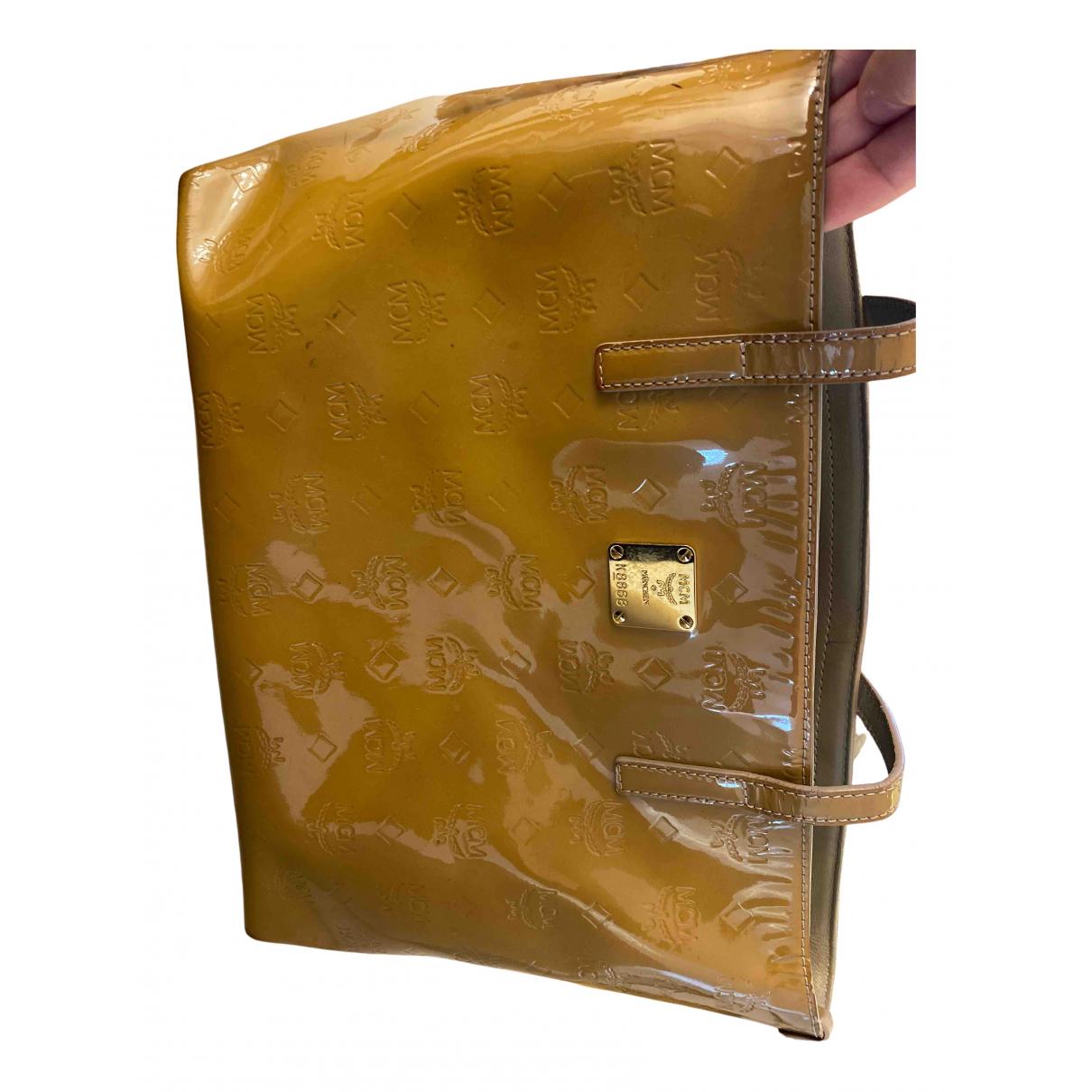 Mcm \N Handtasche in  Beige Lackleder