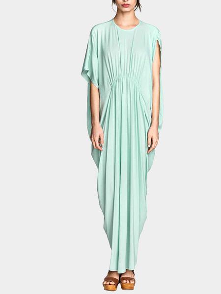 Yoins Aquamarine Maxi Dress In Jersey