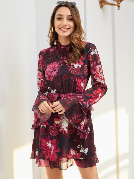 YOINS Red Backless Design Random Floral Long Sleeves Dress