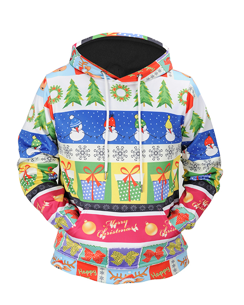 Casual Style Christmas Pullover Vibrant Color 3D Painteded Hoodie