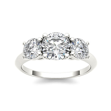 2 CT. T.W. Diamond 14K White Gold 3-Stone Engagement Ring, 8 , No Color Family