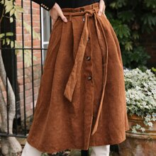 Paperbag Waist Self Belted Button Up Cord Skirt