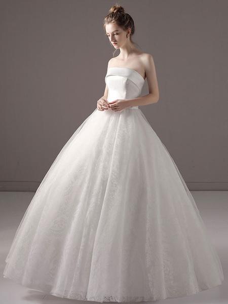 Milanoo Vestidos de novia vestido de fiesta princesa Strapless satinado encaje piso vestido de novia