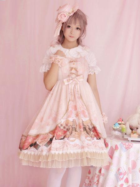 Milanoo Classic Lolita JSK Dress Clock Chess Print Lace Ruffle Bow Light Pink Lolita Jumper Skirt