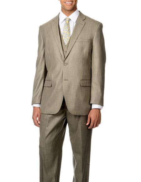 Caravelli Men's Single Breasted Tan Shark Pattern 3 Piece Vested Suit