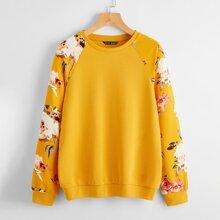 Floral Print Raglan Sleeve Pullover