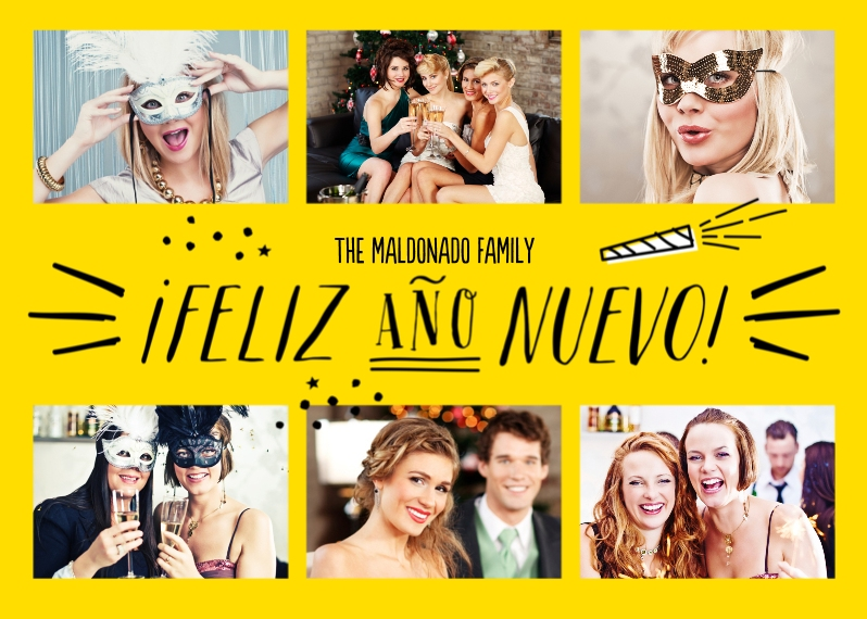 New Year's Photo Cards Mail-for-Me Premium 5x7 Folded Card , Card & Stationery -Hooray for the New Year - Spanish